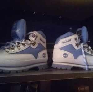 Any blue and white timberlands